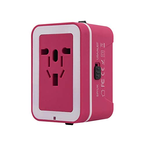 HKFV Universal Travel Adapter Universal Reise-Adapter, World Reisestecker Adapter mit 2 USB Ports Power Convertor Wall Plug Power (Hot Pink) -
