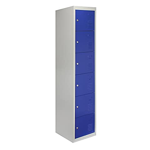 MonsterShop Metal Lockers 6 Doors Storage, Blue & Grey Metal Lockable Unit Staff School Gym