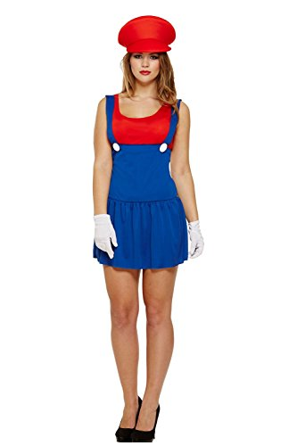 Women's Mario Dress Costume - UK size 10 - Stretchy material.