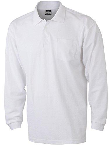 Herren Langarm-Polohemd mit Brusttasche White