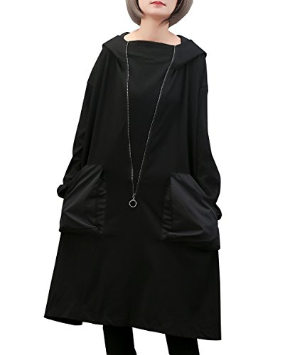 ELLAZHU Damen Fashion Lang Ärmel Mit Tasche Patchwork Schwarz Lose Baggy Hoodie Kleid GY1431 (Patchwork-tasche)