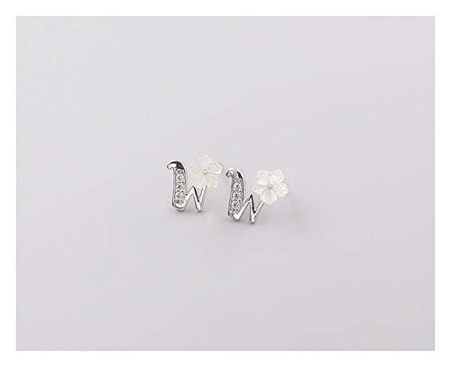 MTWTM Sterling Silber Ohrringe Shell Flower Ohrringe Ohrstecker Minimalistisch Zirkon Buchstaben Mini Fresco Flower Schmuck, Buchstabe W