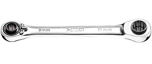 Neo Professional 4 en 1 bague réversible Clé à molette 8 x 9 x 10 x 11 mm 72 dents à cliquet Gear (Neo 09–792)