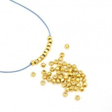 X50Achteckige Perlen Metallic alliage- Gold 3x 2mm–Loch 1mm für Armband Halskette Bo (Metallic Perlen Halsketten)