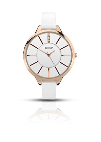 Sekonda 2413 Damen-Armbanduhr, weißes Lederband