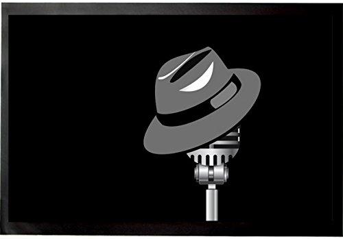 Felpudos Música Sombrero Fedora Y Micrófono Felpudo Alfombrilla (60