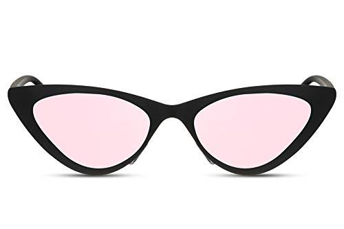 Cheapass Sunglasses Sonnenbrillen Metall Cat Eye Sonnenbrillen Matt Schwarz mit rosa Verspiegelten Gläsern Fashion Design Schattierung UV400 geschützt Frauen