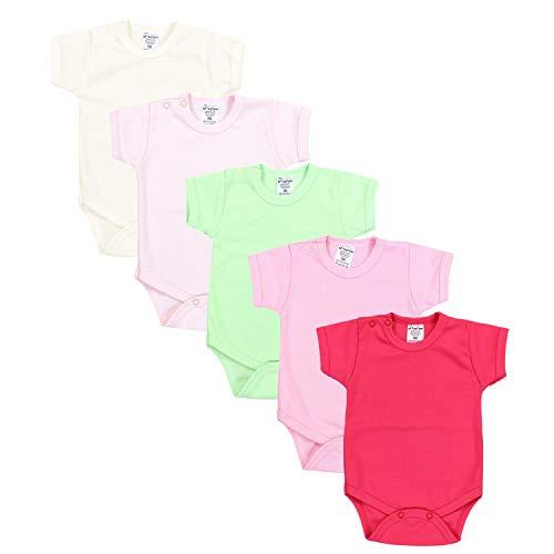 TupTam Mädchen Baby Body Kurzarm in Unifarben - 5er Pack, Farbe: Farbenmix 2, Größe: 56