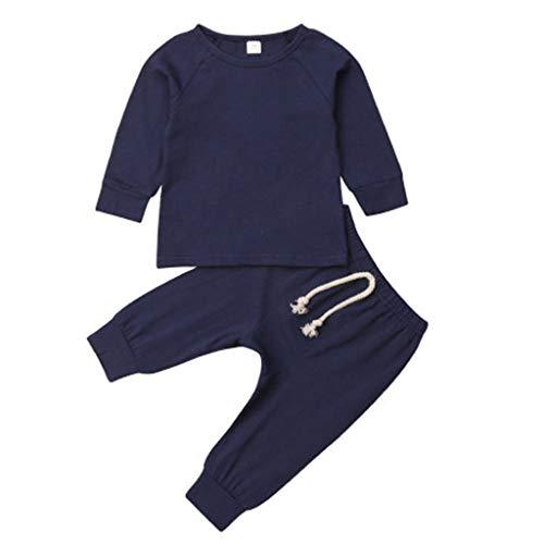 Tyoby Baby Langarm Top + Strumpfhose Leggings Set Bequemer Schlafanzug Homewear Lässige Outfits Sets Erstausstattung (Blau,100) (Little Pony-kleinkind-kleid My)