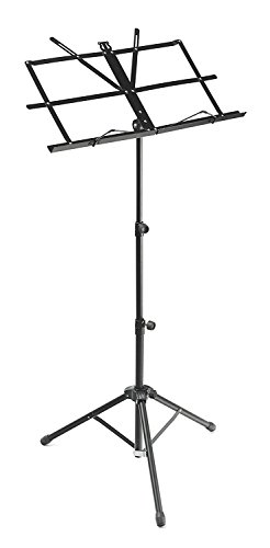 Alligator Adjustable Folding round tube Music Stand with a Carry Bag - Black