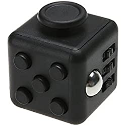 Fidget cube, cubo antiestrés, dado antiestrés. Alivia el estrés y la ansiedad. Válido para adultos y niños. 6 funciones distintas. Negro
