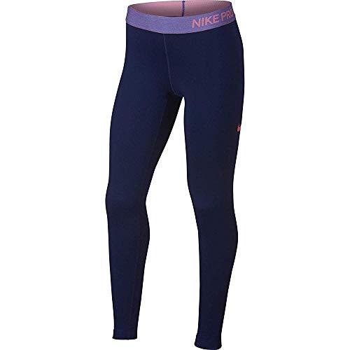 Nike Mädchen Pro Warm Tight, Blue Void/Rush Violet/Lava Glo, M