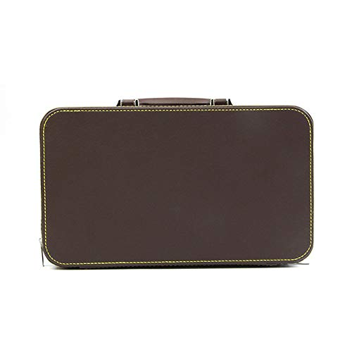 LAIY Schmuck-Organizer-Box, tragbarer dreischichtiger Schmuck/Ring/Anhänger/Aufbewahrungskoffer aus PU-Leder, schwarz/braun,Braun