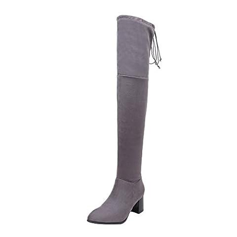 UH Damen Schnür Overknee Stiefel mit Spitze und Fell Reißverschluss Chunky Heels Boots Bequeme Warm