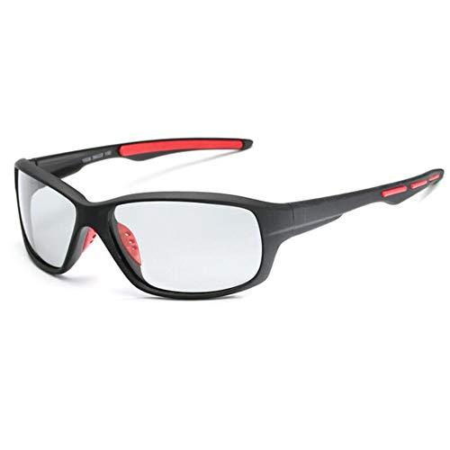 Sonnenbrille Männer Polarisierte Angeln Brillen Fahrrad Glas Fahrrad Reiten Angeln Wandern Sonnenbrille Oculos De Sol Hombre Gläser Fahrer (Color : BlackRed, Size : One Size)