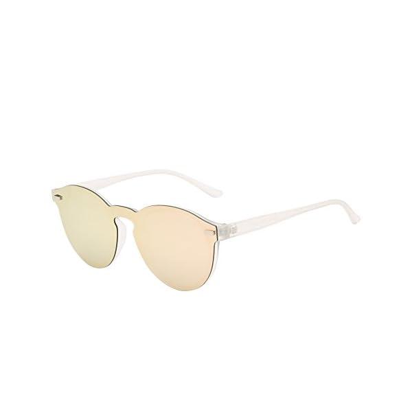 a72efaa93f Polarizadas Sin Montura Borde Con Cuerno Gafas de Sol Redondas Espejo Una Pieza  Anteojos Para Mujer Hombre
