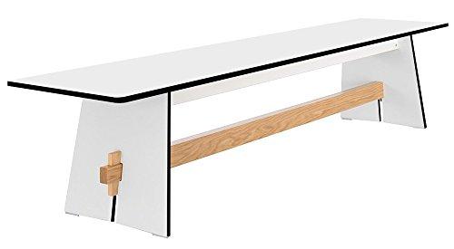 Conmoto Tension - Bank 42 x 220 x 45 cm HPL weiss - Traverse aus Teak - ohne Auflage - Outdoorbank - Gartenbank