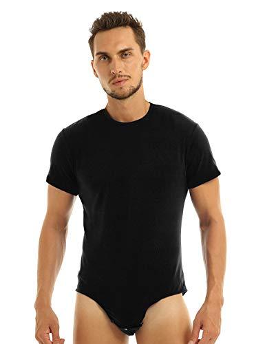 Agoky Herren Body Männer Einteiler Unterwäsche Kurzarm Unterhemd Rundhals T-Shirt Einfarbig Baumwolle Tops und Ouvert Slip mit Knöpfe im Schritt Schwarz XXL