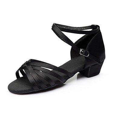 Silence @ Femme/enfants Chaussures de danse en satin/paillettes satiné/paillettes latine Sandales/talons/Sneakers Chunky Heelpractice/ marron