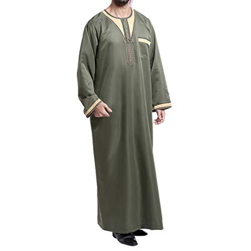 TEBAISE Kostüm Langarm Stehkragen Muslimische Dubai Robe-Sätze Muslim Abaya Dubai Islamisch Arabisch Indien Türkisch Casual Festlich Kaftan Robe Kleid Maxikleid Herren Männer Kaftan im Saudi-Stil (Muslim Kostüm Für Männer Bilder)