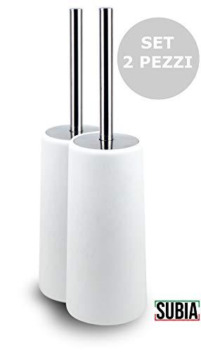 Scopino scovolino bagno wc subia set 2 pz portascopino incorporato design bianco acciaio inox antigraffio antiruggine pulizia profonda e qualità durevole pronto all'uso già montato