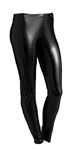 Islander Fashions Womens Look Wet Look Leggings in metallo Ladies Shiny Foil Pantaloni da discoteca da party con pantaloni piccoli / XXX-Large Black