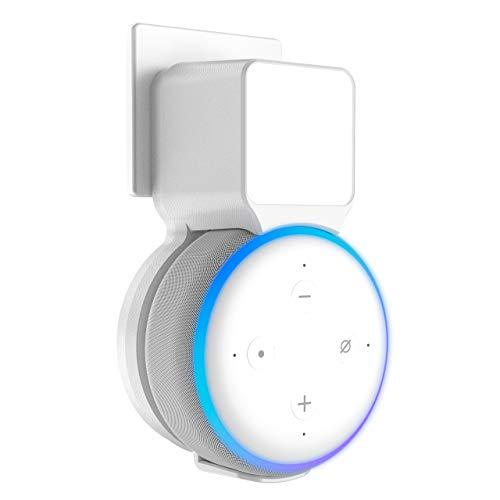 Stouchi Echo Dot Wandhalterung Ständer kompatibel mit Echo Dot 3. Generation Socket Hanger Bracket Case, Built-in Cable Management, Audio Port Available (Weiß)