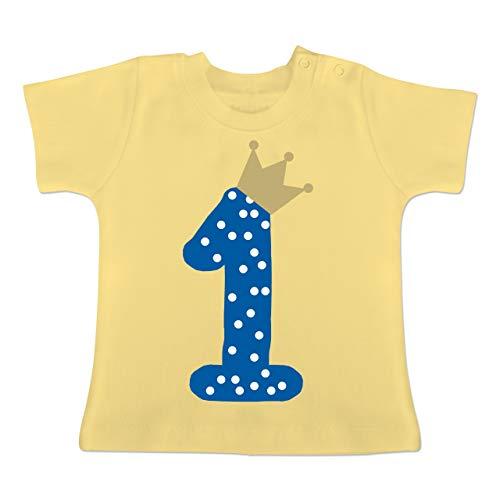 Geburtstag Baby - 1. Geburtstag Krone Junge Erster - 1-3 Monate - Hellgelb - BZ02 - Baby T-Shirt Kurzarm (50er Jahre Jungen Kleidung)