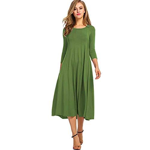 Sasstaids Frühling und Sommer heißes Kleid,Einfarbig großes Kleid mit europäischen und amerikanischen Rundhalsausschnitten Böhmischer Rock Kleid