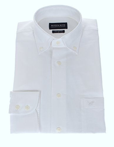 766004 Bots & Bots - Exclusive Collection - Chemise Homme - Coton Oxford - Col Boutonnné - Normal Fit Blanc