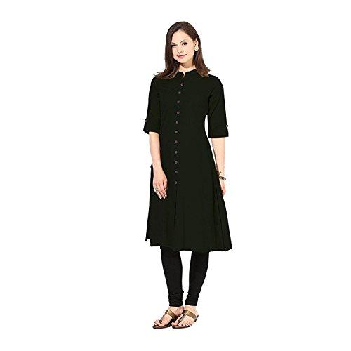 Muta Fashions Women's Cotton & Crush Kurta (FABRIC01_09_Black_Free Size)