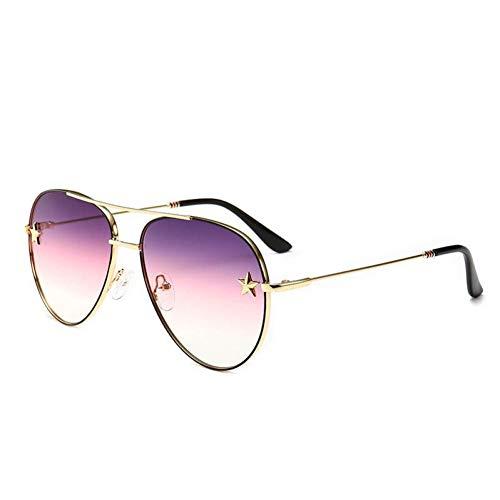 HYUHYU Sonnenbrille Frauen Rivet Trim Männliche Brillen Doppelstrahl Kröte Objektiv Metallrahmen Männer Sonnenbrille Spiegel