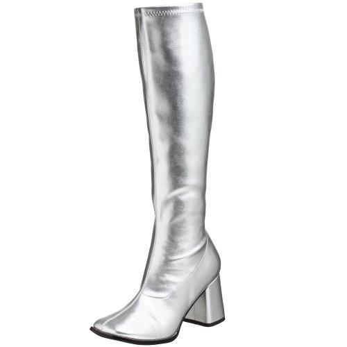 Pleaser Gogo300/yl, Damen Stiefel, Silber (Silver), 39 (Halloween Hippie Disco Kostüm)