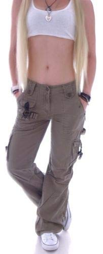 Damen Cargohose Stoffhose Cargo Hose Hüfthose Jeans XS 34 S 36 M 38 L 40 XL 42 XXL 44 gr größe size cargohosen cargojeans tasche taschen baggy arbeits-hose-n worker arbeit berufs-hose-n hosen stretch