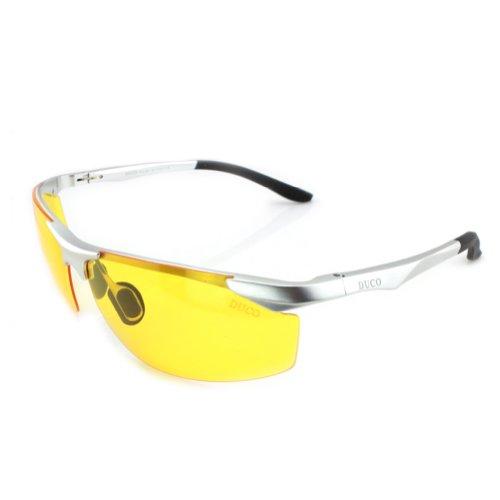 DUCO dunkles Licht, Nacht-Kontrast-Brille Nachtfahrbrille Nachtsichtbrillen Anti-Glanz polarisierte Brille mit gelben Gläsern 8179 (Silber)