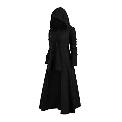Schwarzer Mantel Kostüm - Mxssi Retro Kleid mit Kapuze für Damen Frauen Lange Ärmel Damenkostüme Vintage Mittelalter Renaissance Halloween Party Kostüm Kleider Große Größen Lange Pullover Kleidung