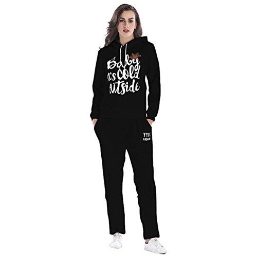 NiSeng Hoodies Pullover 1 Stück Weihnachtsschneeflocken Kapuzenpulli Damen Trainingsanzug Swearshirt Mit Kapuze + Sweatpants 2 Stück Anzug Schwarz (Anzug) 2XL