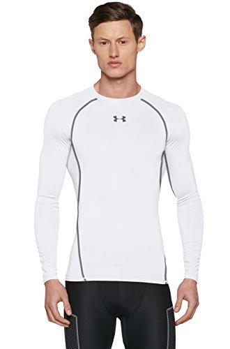 Under Armour Men's HeatGear Longsleeve Compression T-Shirt - White/Graphite, 2X-Large
