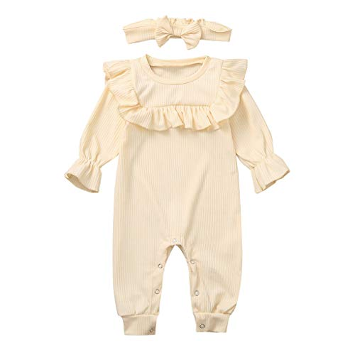 Livoral Neugeborenes Baby Jungen Mädchen solide Rüschen Strampler Overall Stirnband Outfits Set(Beige,18-24 Monate)