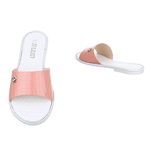 Ital-Design Pantoletten Damen Schuhe Jazz & Modern Blockabsatz Leichte Sandalen / Sandaletten Rosa