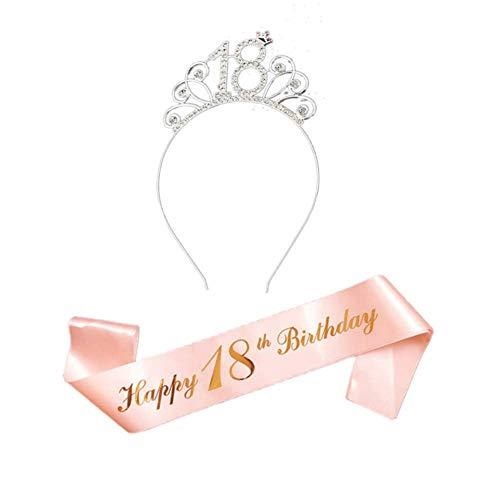 Oro Rosa Feliz 18 cumpleaños Faja Banda satén cumpleaños