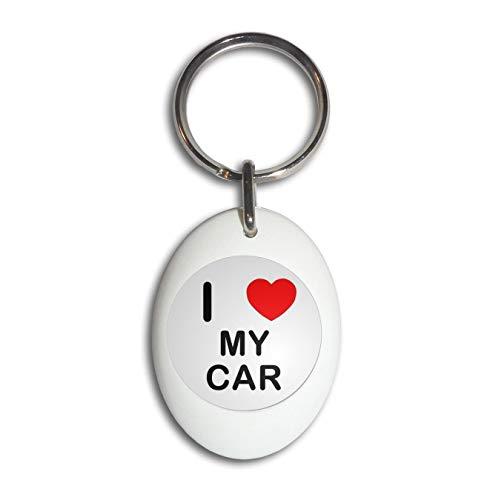 I Love My Car - Portachiavi Ovale Bianco In Plastica