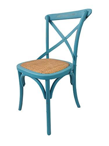 Totò Piccinni Sedia in Legno Design Cross, Seduta Intreccio Rattan, Alta QUALITA' (Azzurro Antico, 1)