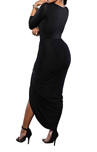 Femmes Sexy Cut Out profond col en V avant de Split Bandage froncé Clubwear Maxi Dress Noir
