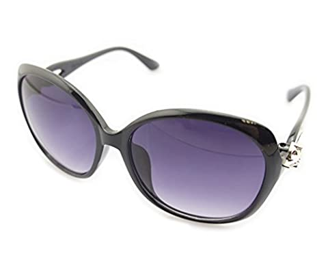 HAND 2532 Ladies Fashion Sunglasses - Large Frame with Silver Fox Temples Motif - Width at Temples 132 mm - 100% UV400 Protection - Black Frame with Violet Lenses
