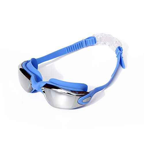 jsauwi Swim Goggles Swimming Goggles Adult Electroplated Anti-Fog Waterproof Swimming Goggles, Blue -