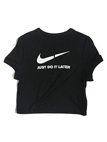 choies-damen-t-shirts-mit-aufdruck-just-do-it-later-und-muster-rundhalsausschnitt-kurzarm-sommer-coo