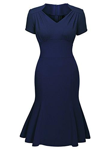 Miusol Damen Sommerkleid V-Ausschnitt Kurzarm 1950er Retro Fishtail?Buero Cocktail Kleid Blau EU 44/XL - 4