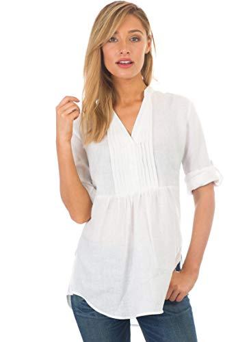 CAMIXA 100% Leinenhemd Damen Longbluse mit Dekorativer Biesenverarbeitung Tunika M Weiß -