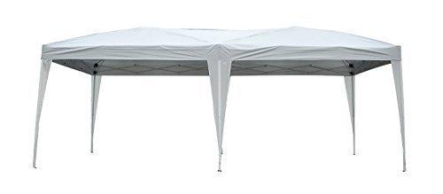 Outsunny Carpa Cenador para Exterior 6x3m Plegable en Acordeón Gazebo Pabellón para Jardín Camping Fiesta Tienda Eventos Boda con Pegatinas Impermeables + 1 Bolsa Transporte Acero Color Blanco